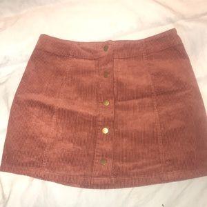 Burnt orange button up corduroy skirt